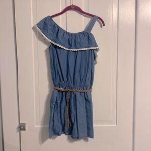 NWT Justice Jean Romper with Tan Braided Belt 20
